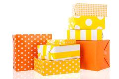 Yellow and orange gifts Stock Photography