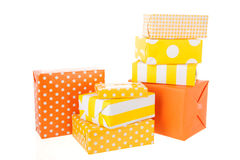 Yellow and orange gifts Royalty Free Stock Image