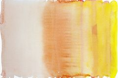 Yellow and orange gradient watercolor on paper background stock images