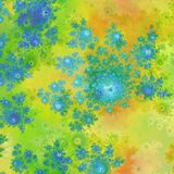 Yellow orange green blue flowers with digitally painting texture vector illustration