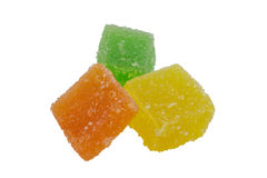 Yellow Orange and Green jelly cubes Royalty Free Stock Image