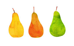 Yellow, orange, green pears isolated Stock Photos