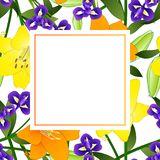 Yellow, Orange Lily and Blue Iris Flower Banner Card Border on White Background. Vector Illustration.  stock illustration