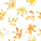 Yellow orange maple leaves imprints seamless pattern on white background. Maple leaves imprints seamless pattern on white background Stock Photo