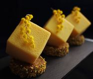 Yellow orange mousse textured desserts on pistachio sponge slices with mimosa flowers royalty free stock photos