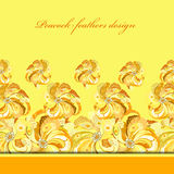 Yellow orange peacock feathers pattern background. Text place. Stock Photos