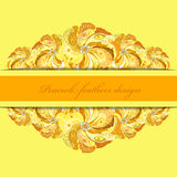 Yellow orange peacock feathers pattern background. Text place. Stock Photo