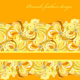 Yellow orange peacock feathers pattern background. Text place. Royalty Free Stock Photo