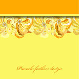 Yellow orange peacock feathers pattern background. Text place. Stock Photography