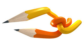 Yellow and orange pencils interlaced Royalty Free Stock Image