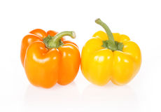 Yellow and orange pepper. On white background stock images