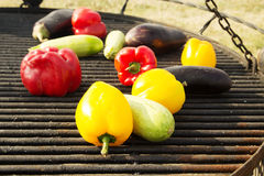 Yellow and Orange Peppers, Eggplant on the Grill. Background, texture of vegetables on the grill bbq. Raw vegetables on the grill bbq. Yellow, red and orange Stock Image