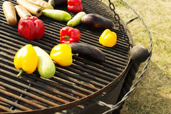 Yellow and Orange Peppers, Eggplant on the Grill. Background, texture of vegetables on the grill bbq. Raw vegetables on the grill bbq. Yellow, red and orange Stock Images