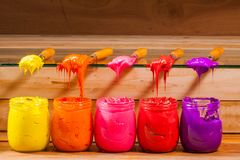 Yellow orange pink red and purple colors of plastisol ink Royalty Free Stock Images