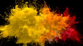 Yellow Orange Red Color Burst - Multiple colorful smoke explosions fluid alpha