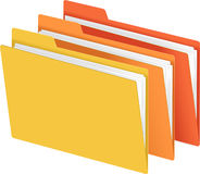 Yellow, Orange, Red File Folders. File folder vector illustration with bright color folders. Each folder on separate layer in EPS file for easy use Stock Photos