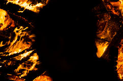 Yellow orange and red fire flames as background with elements bu Stock Photography