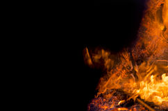 Yellow orange and red fire flames as background with elements bu. Rning for creatives Stock Image