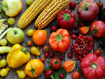 Yellow, orange and red fruits and vegetables Royalty Free Stock Photo