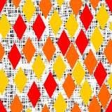 Yellow, orange and red rhombus on black white doodle background Stock Images