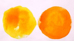 Yellow and orange round circle abstract watercolor on white back stock image