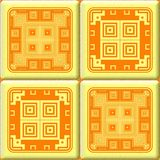 Yellow orange square tiles seamless pattern texture geometrical shape Stock Photography