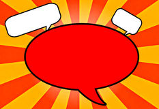 Speech Bubbles Yellow Orange Sun Burst Retro  Royalty Free Stock Images