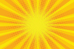 Yellow orange sun pop art retro rays background. Vector illustration Stock Images