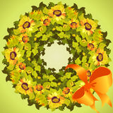 Yellow orange sunflower wreath and ribbon with bow, circle frame. Vector illustration Royalty Free Stock Images