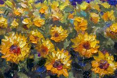 Close-up oil painting rural Landscape of Italian Tuscany. Yellow orange sunflowers - a textured fragment of a close-up oil painting. Impressionism flowers of a stock illustration