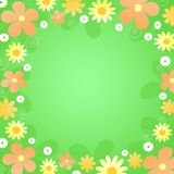 Yellow, orange,  and white flowers. Illustration of retro styled yellow, orange,  and white flowers on green background Royalty Free Stock Images