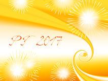 Yellow, orange and white shiny fractal based PF 2017. Good luck wishing card for New Year with yellow and orange spirals, several warm color fireworks and Stock Photos
