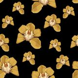 Yellow orchid Phalaenopsis floral seamless pattern. Exotic spring summer flowers in bloom. Blossom foliage bouquet on black background royalty free illustration