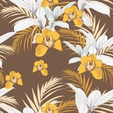 Yellow orchids, exotic grey ficus and tropical leaves. Seamless abstract tropical pattern. Vector brown vintage background stock illustration