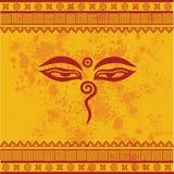 Yellow oriental Buddha eyes design Stock Image