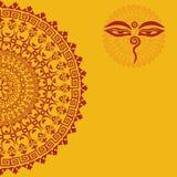 Yellow oriental buddha mandala background Stock Image
