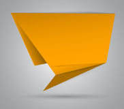 Yellow origami abstract speech bubble Royalty Free Stock Photography