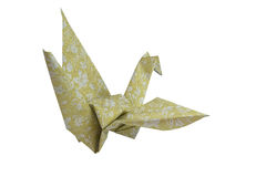 Yellow origami bird Origami Crane  on white background.Saved with clipping path. Stock Photo