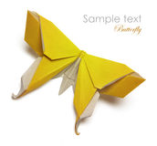 Yellow origami butterfly Royalty Free Stock Photos