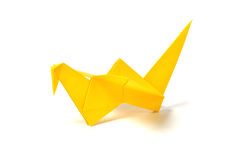 Yellow origami crane Stock Photos