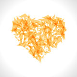 Yellow origami heart on white backdrop. Vector Illustration. Abstract polygonal heart. Love symbol. Low-poly colorful Stock Images