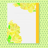 Yellow ornamented card with floral pattern. Card with yellow ornament based on nasturtium flowers and leaves Stock Photos