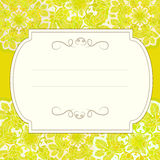 Yellow ornamented card with floral pattern. Card with yellow ornament based oh hops flowers and leaves Royalty Free Stock Photography