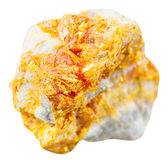 Yellow Orpiment mineral stone on dolomite isolated Stock Images