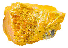 Yellow orpiment piece isolated on white. Macro shooting of specimen of natural mineral - yellow orpiment ratebane, yellow arsenic, yellow ratebane piece isolated Royalty Free Stock Photos