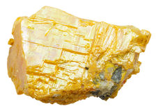 Yellow orpiment stone isolated on white Stock Images