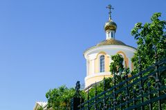 Yellow orthodox church Royalty Free Stock Photo
