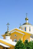 Yellow orthodox church Stock Photo