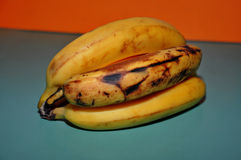 Yellow and overripe bananas Stock Images
