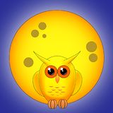 Yellow owl against the full moon at night Royalty Free Stock Photo
